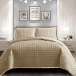 Quilted Silk Border Embossed Bedspread 3piece Bedding Set Beige
