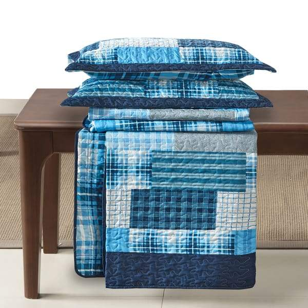 3 Piece Quilted Bedspread Patchwork Bedding Set Denim Blue