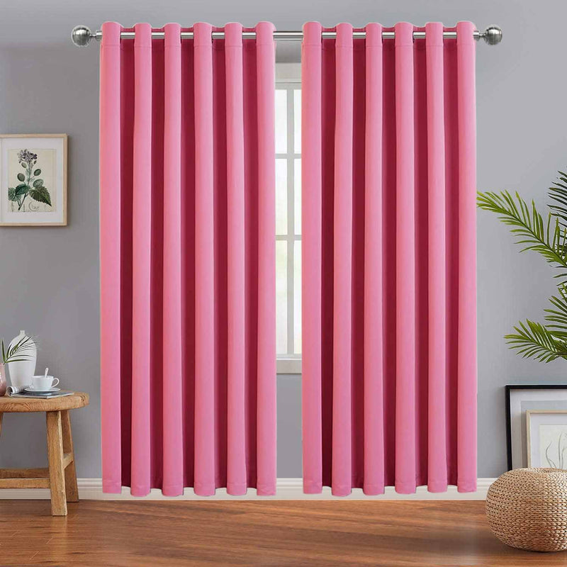 Blackout Eyelet Ready Made Pink Curtains
