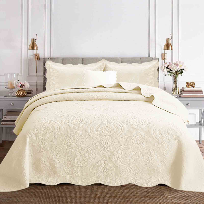 Luxury Embroidered Cotton Bedspread Set Cream