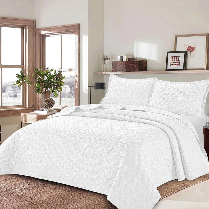 3 Piece Inspiration White Bedspread