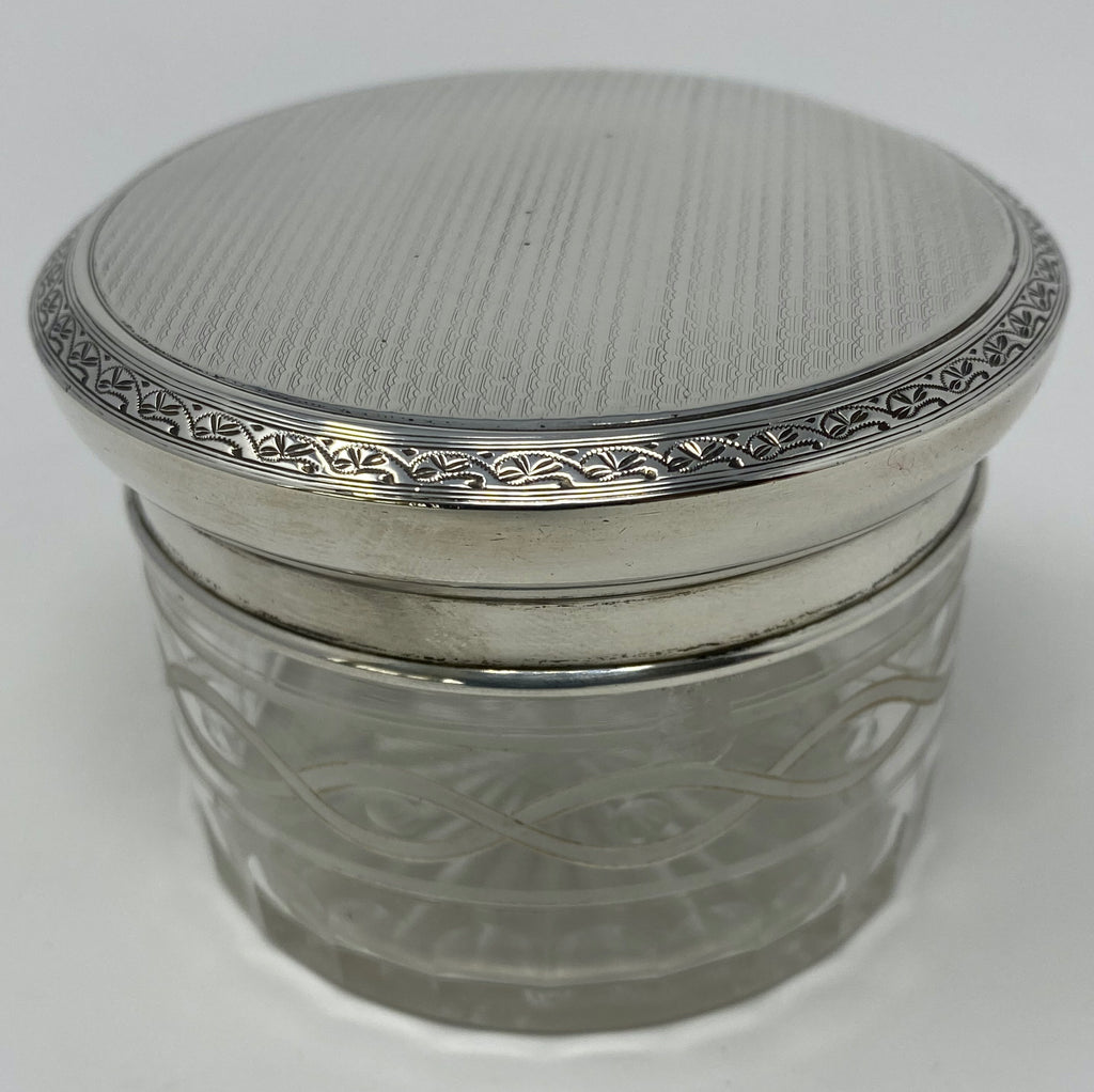 Antique Silver and Etched Glass Dresser Jar