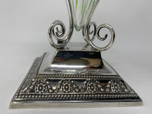 Antique Silver Plate and Green/White Art Nouveau Glass Vase