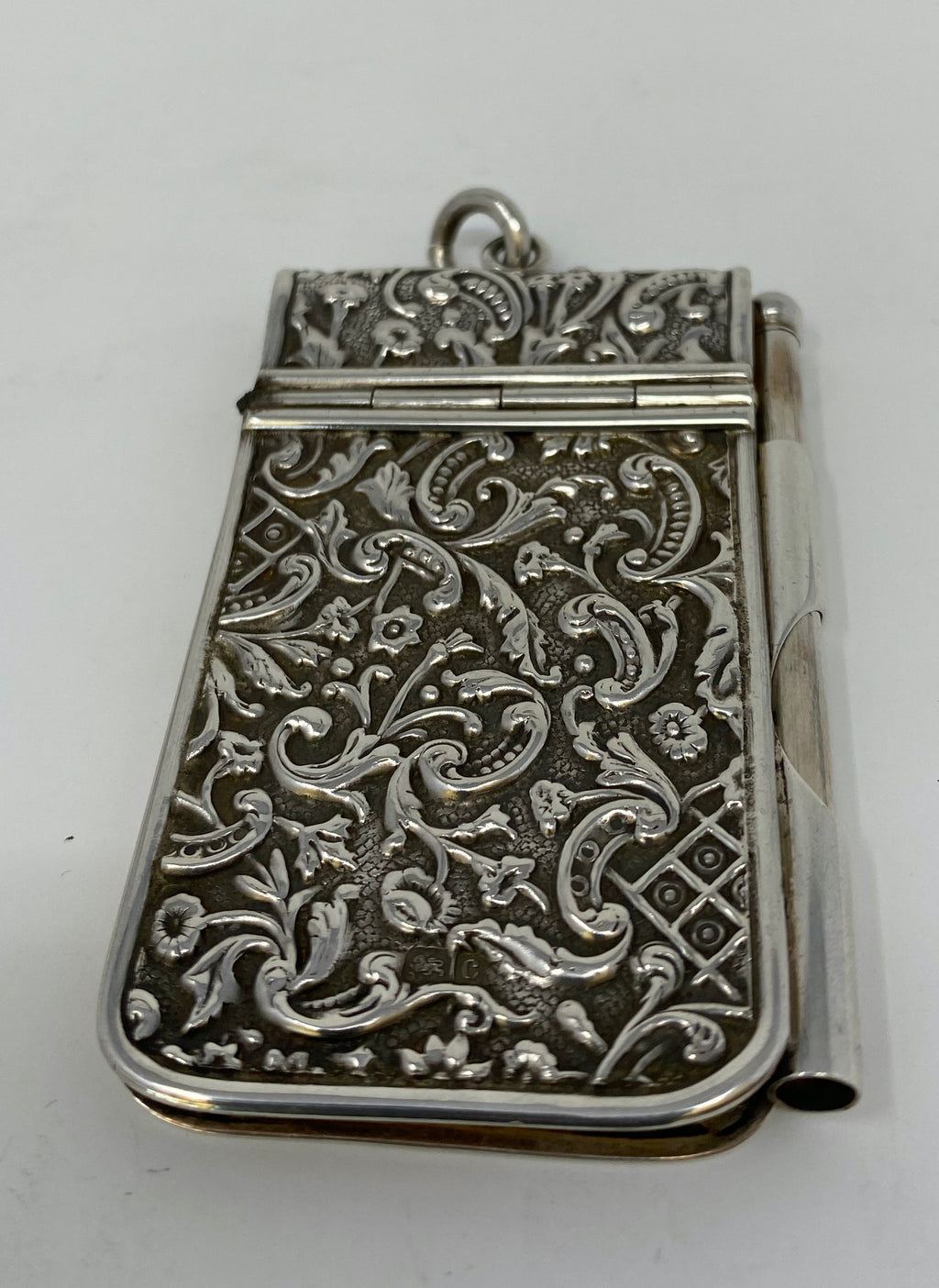 Antique Silver Embossed Notepad and Pencil