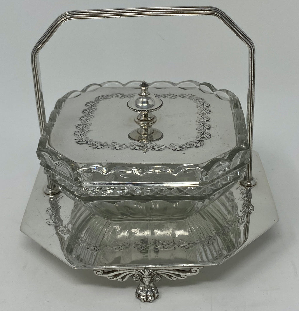 Antique Silver Plate and Glass Butter Dish