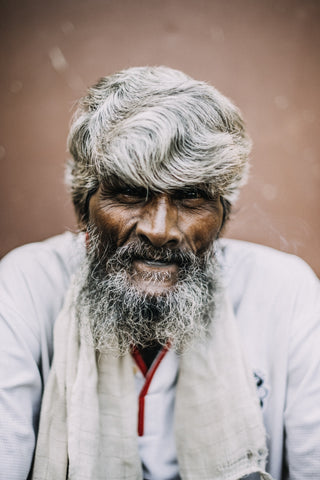 Older man with grey and silver hair