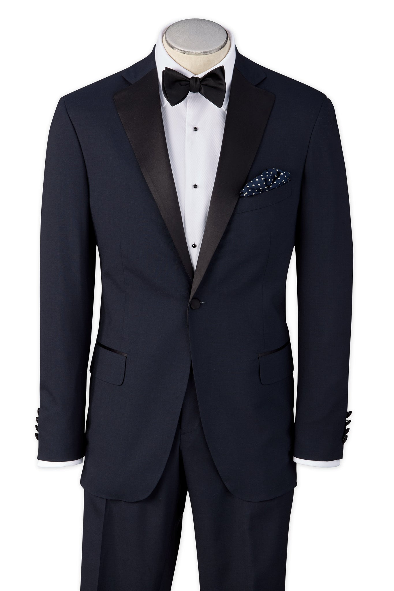 Modern Fit Navy Super 110's Worsted Wool Notch Lapel Tuxedo Jacket -  Hardwick.com