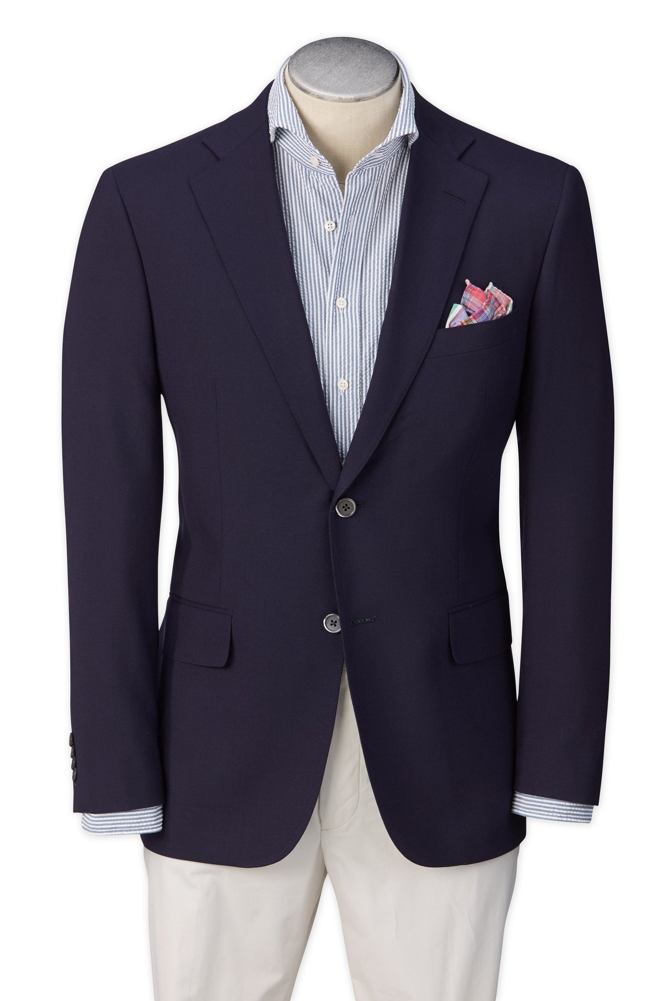 Modern Fit Navy H-Tech Super 110's Wrinkle Resistant Wool Blazer -  Hardwick.com