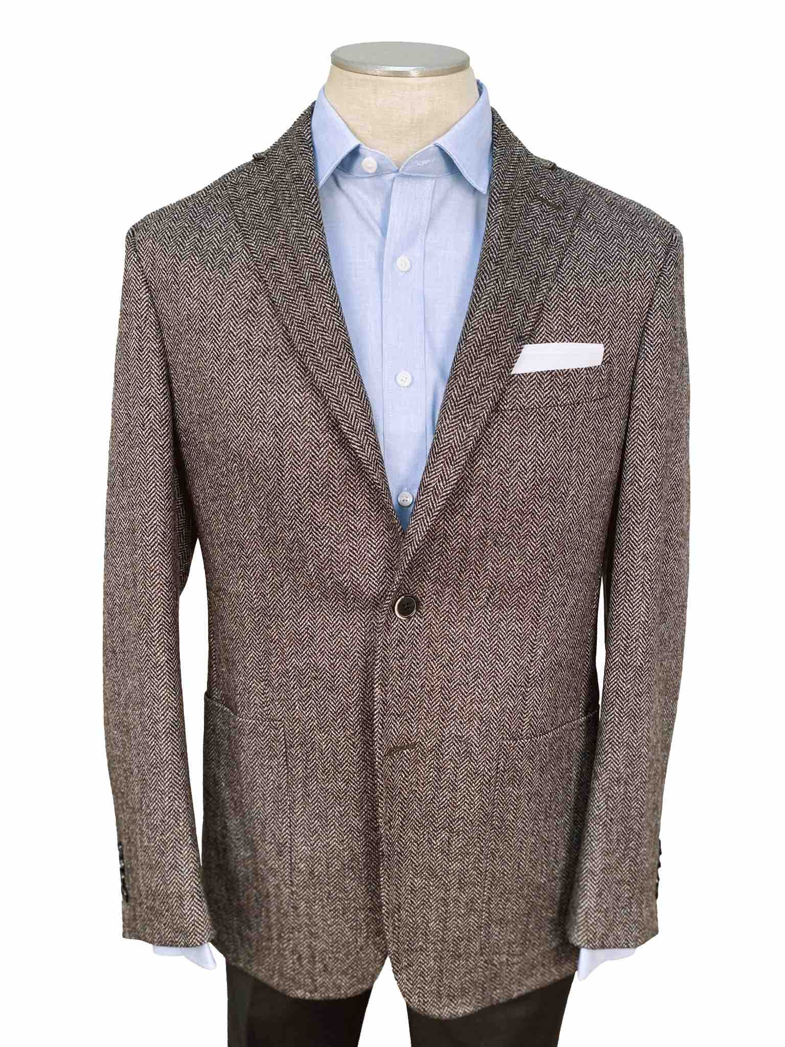 Men's Sport Coat Modern Cut - BROWN HERRINGBONE - 95% WOOL/5% CASHMERE