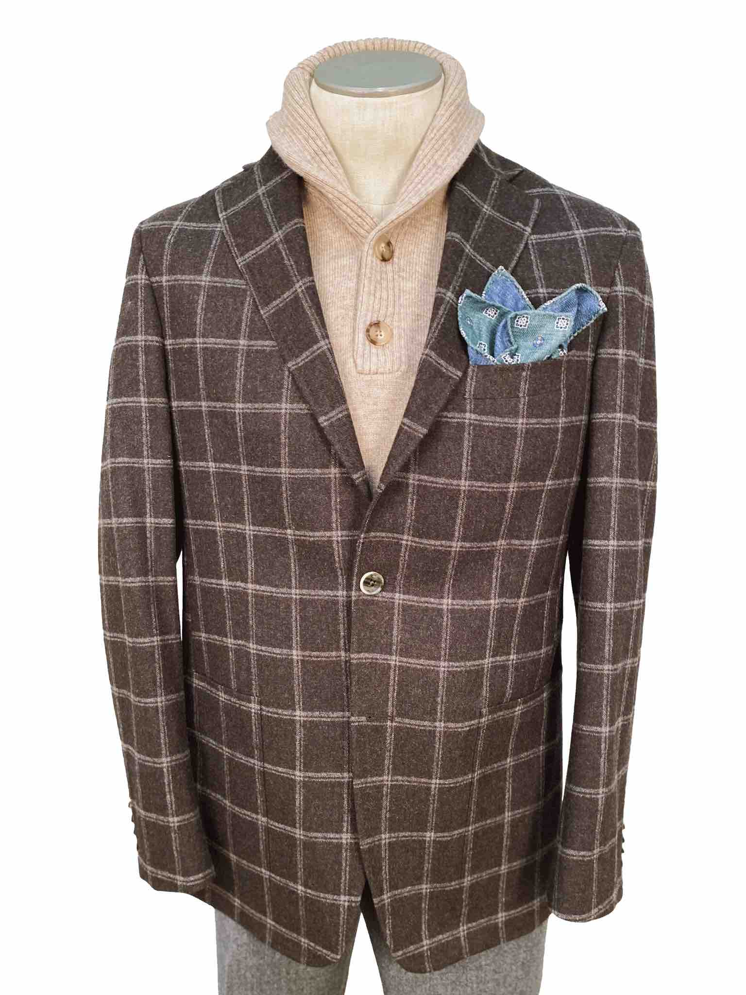 Men's Sport Coat Modern Cut - BROWN W'PANE - 94/6 WOOL/CASHMERE