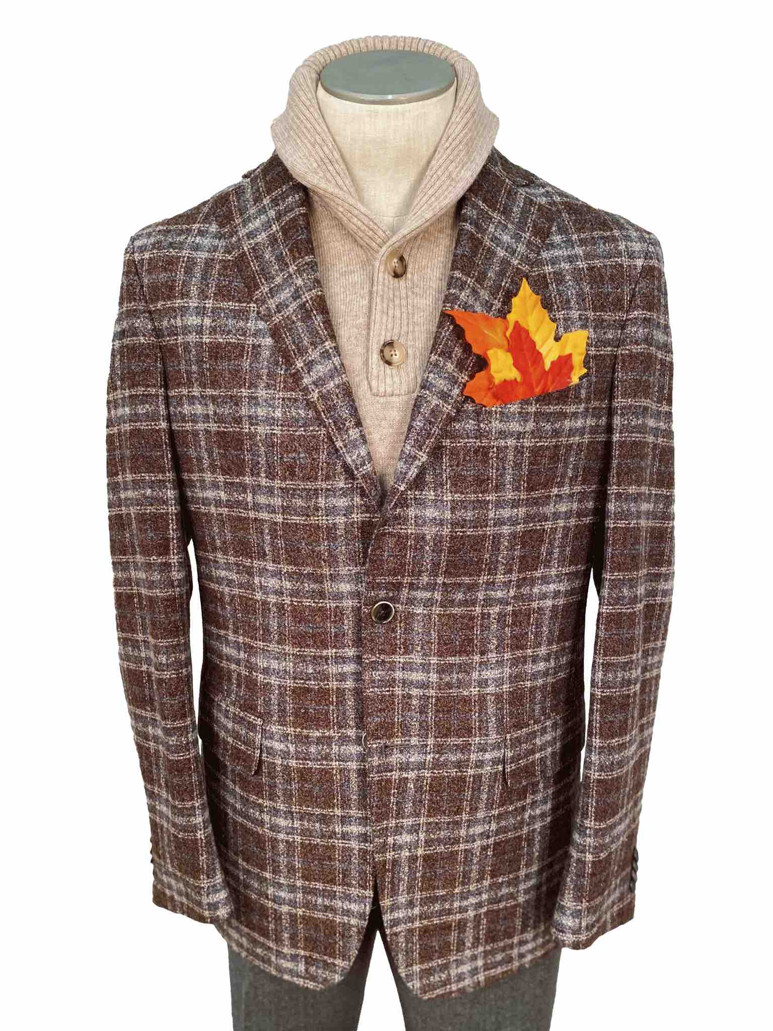 Men's Sport Coat Modern Cut - BROWN PLAID - 48/34/18 WO/SE/PA