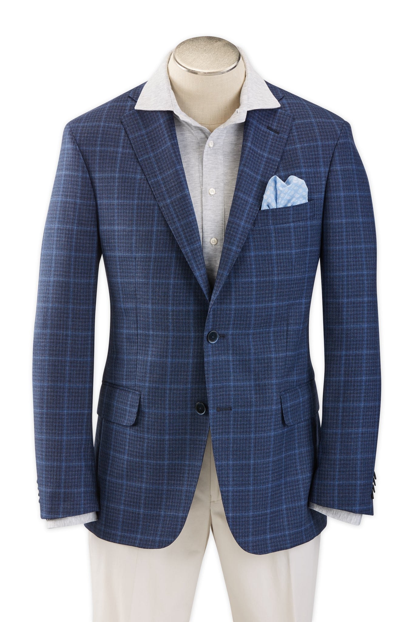 Modern Fit Blue Check with Windowpane Sport Coat -  Hardwick.com