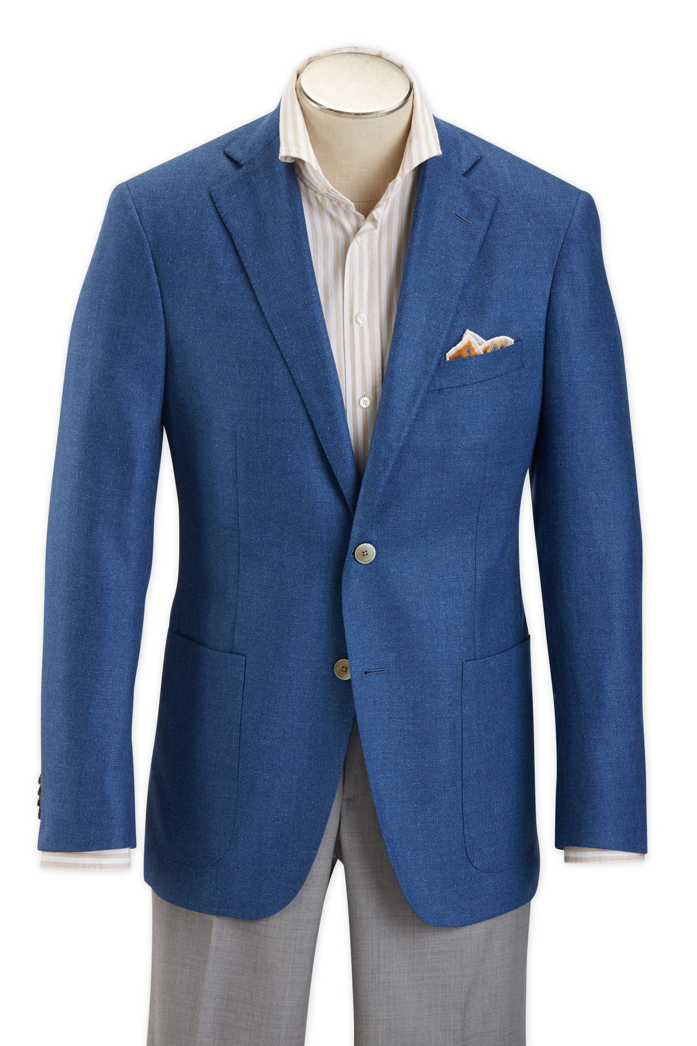 Modern Fit Heather Blue Wool Silk Sport Coat -  Hardwick.com