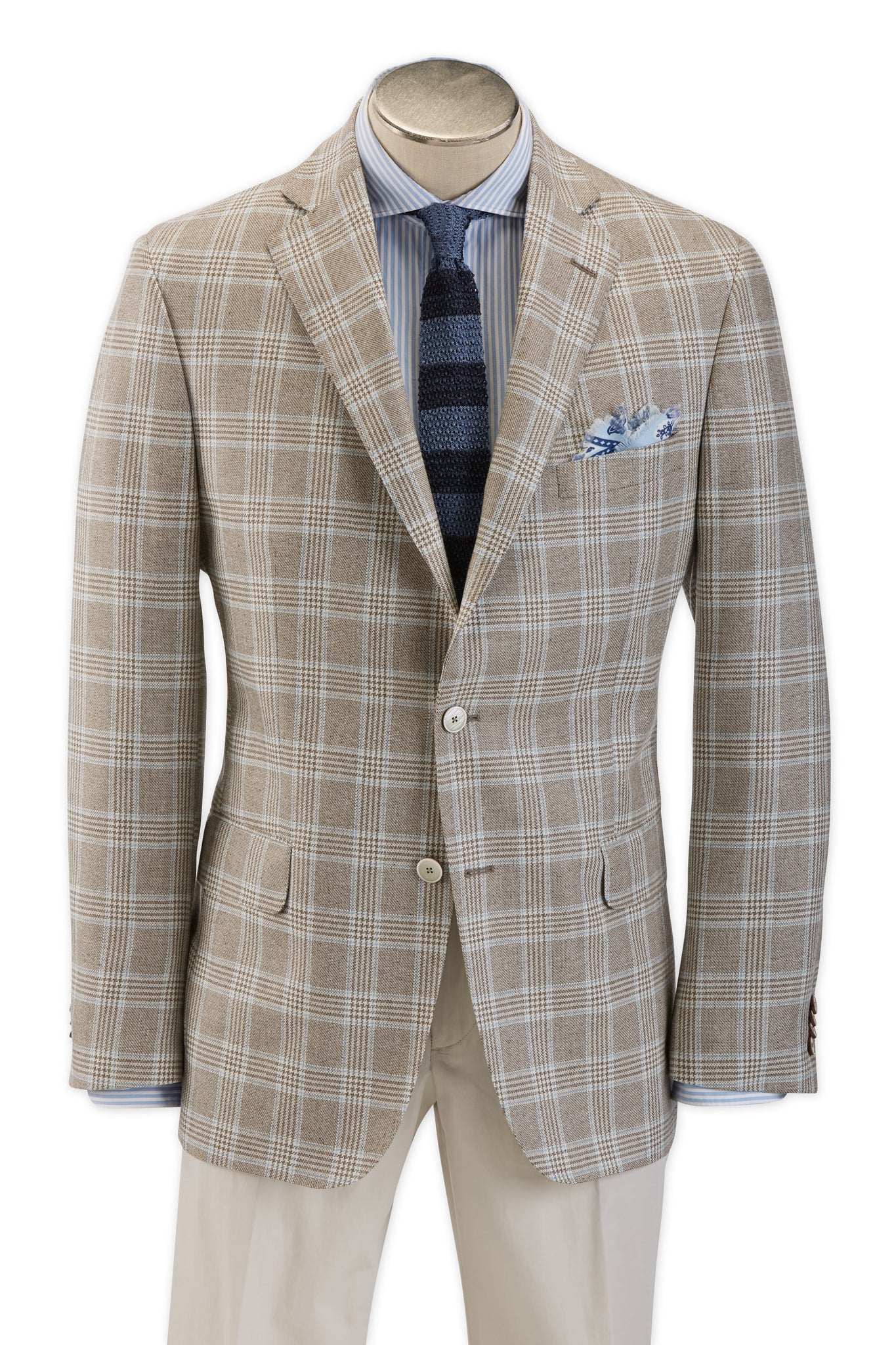 Modern Fit Brown Glen Plaid with Sky Blue Windowpane Sport Coat -  Hardwick.com