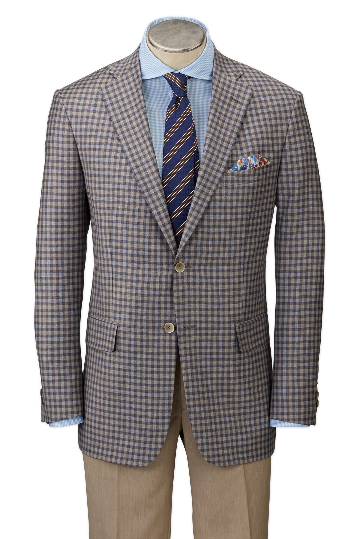 Modern Fit Brown & Blue Check Sport Coat -  Hardwick.com
