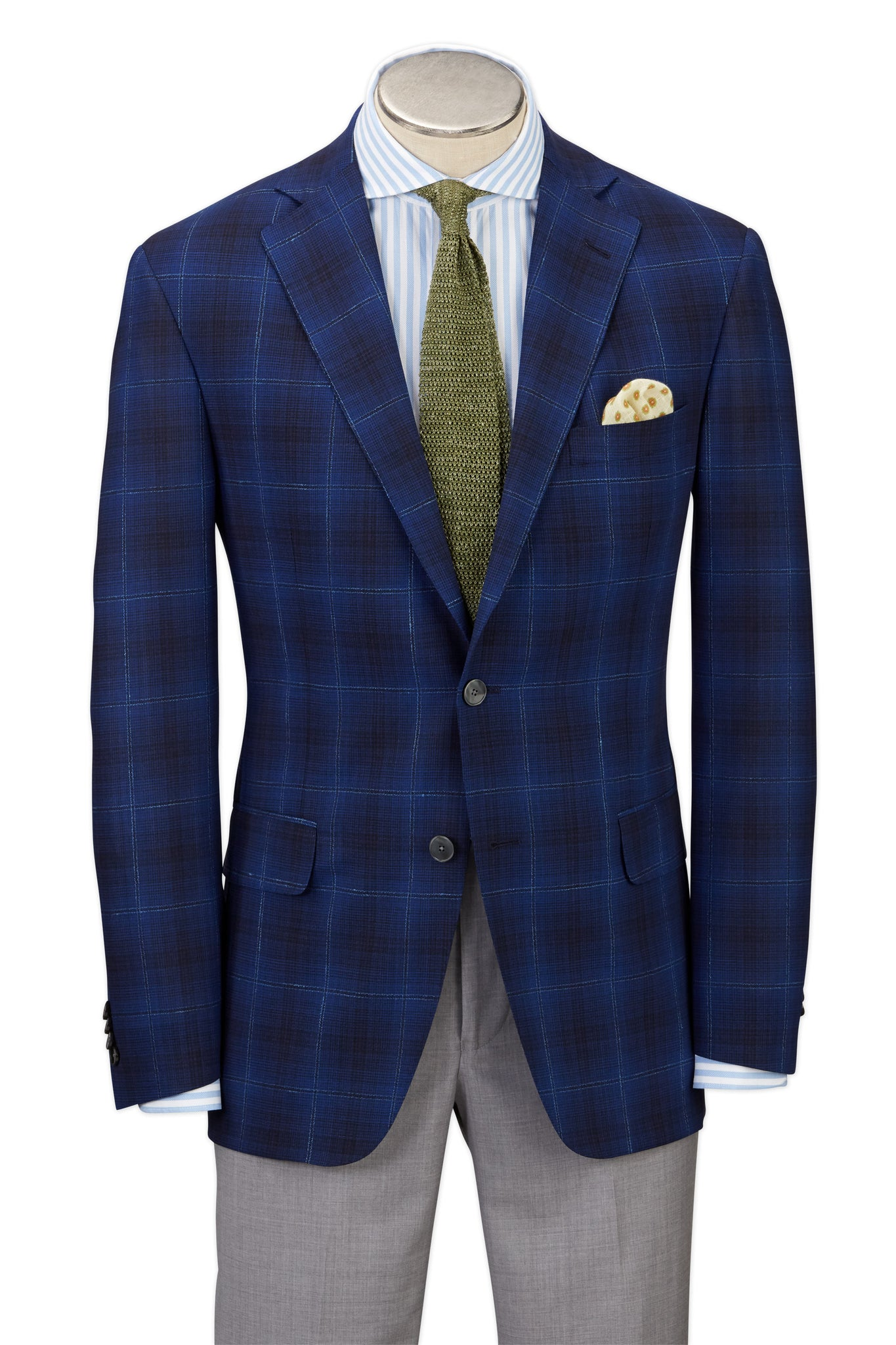 Modern Fit Dark Blue Plaid with Windowpane Overlay Sport Coat -  Hardwick.com