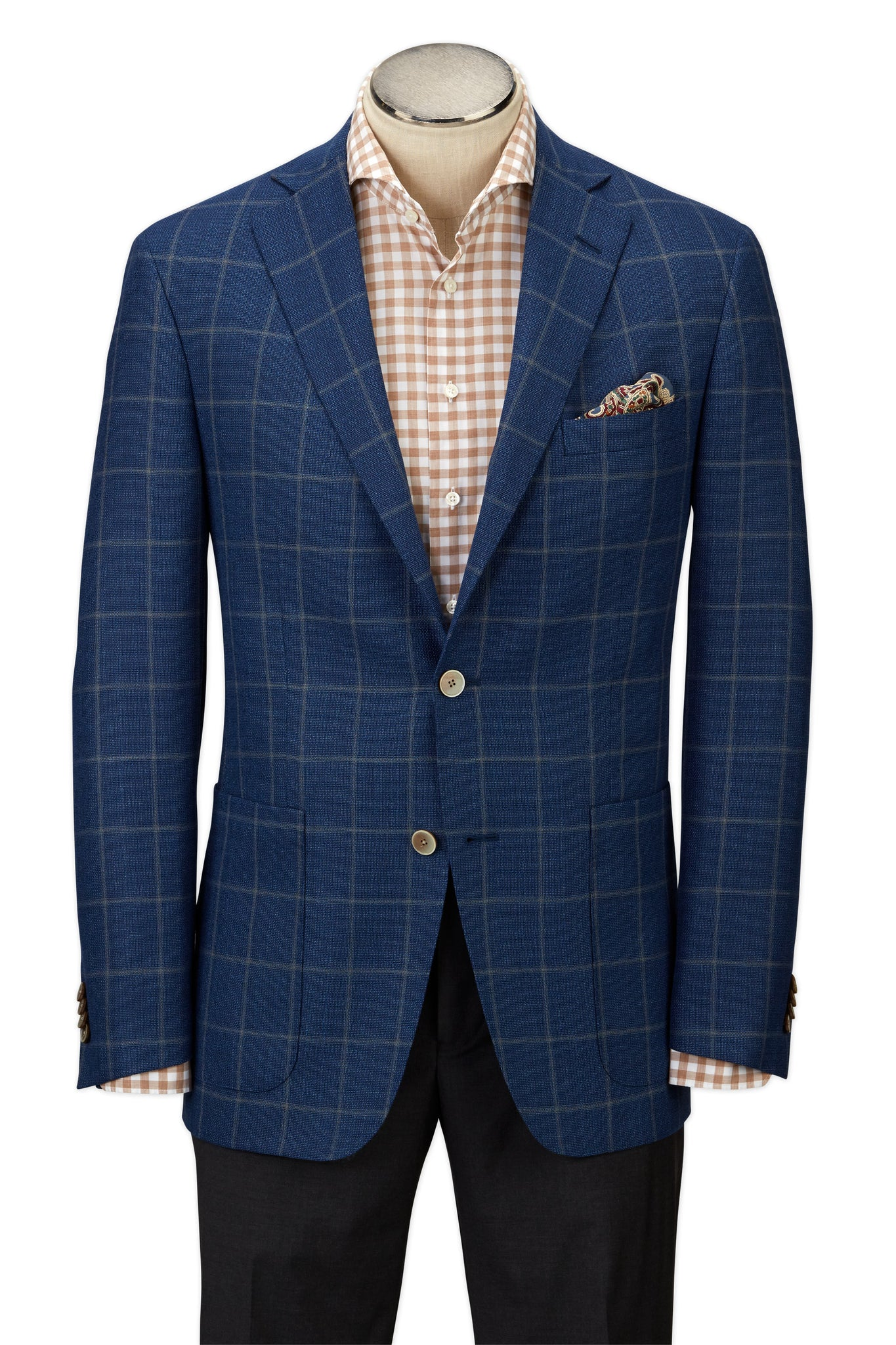 Modern Fit Blue Plaid with Windowpane Sport Coat -  Hardwick.com