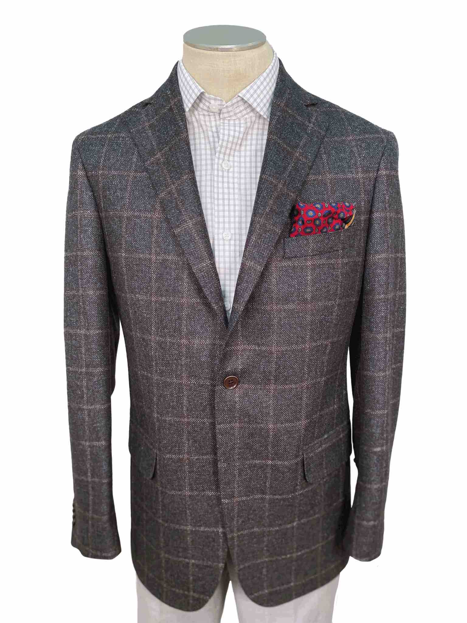 Men's Sport Coat Modern Cut - GREY WINDOWPANE - 100% WOOL
