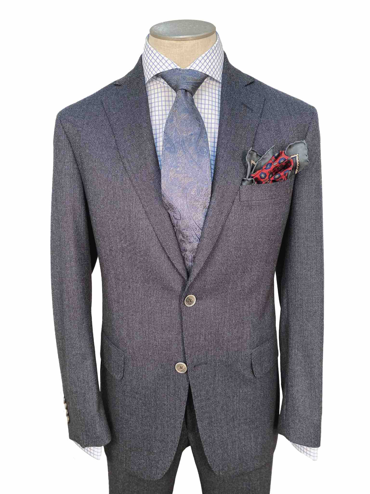 Men's Flat Front Pant Nested Suit Modern Cut - BLUE/GREY - 100% WOOL