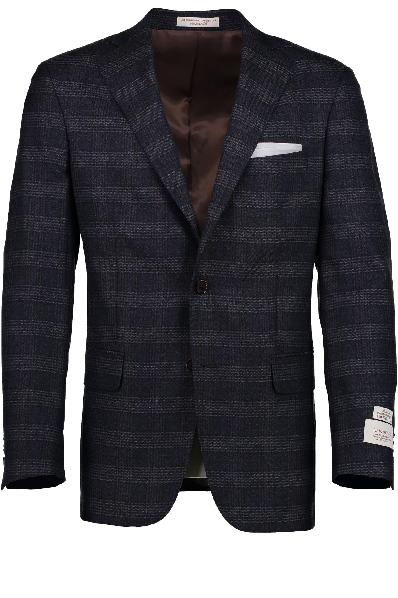 Modern Fit Charcoal Blue Prince of Wales Check Wool Sport Coat