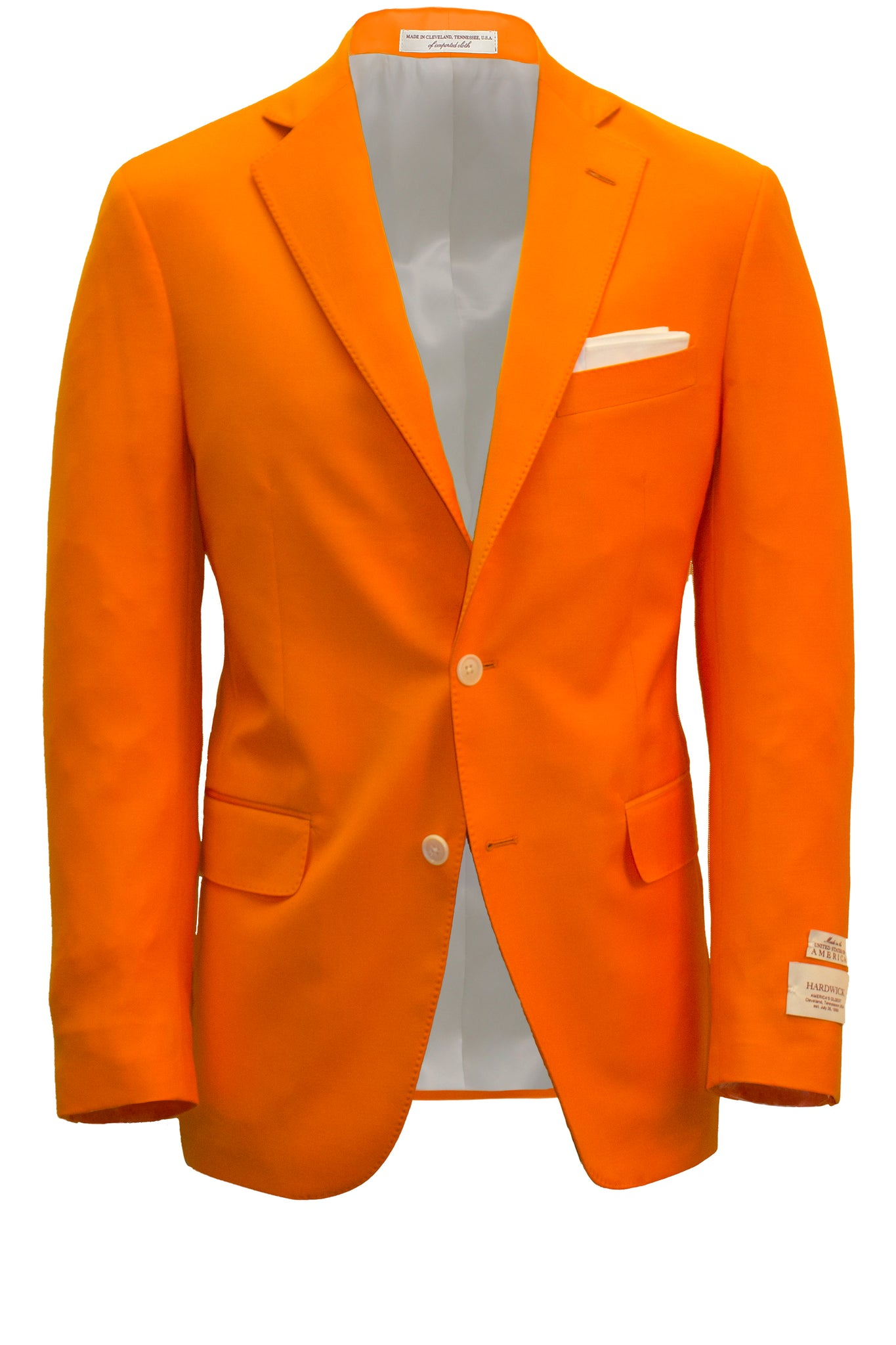 Men's Modern Fit Volunteer Orange Wool Blazer -  Hardwick.com