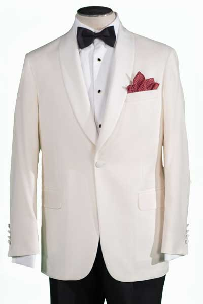 Men's Tuxedo Jacket Modern Cut, Ivory, 100% Wool 110's, Front of jacket image