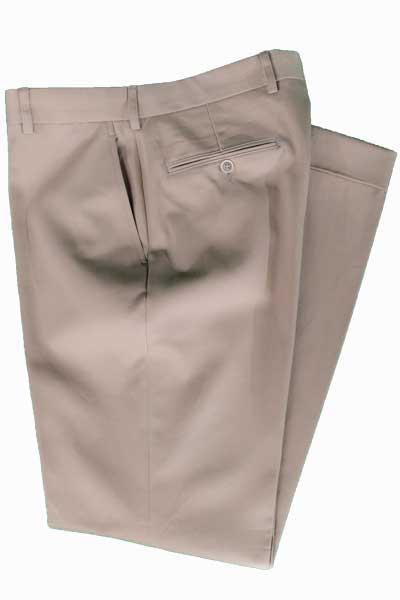 Men's Flat Front Pant Chairman's Collection - KHAKI - 100% COTTON