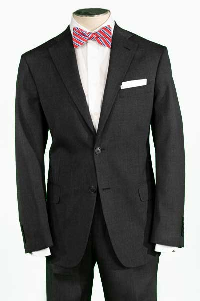 Men's Classic Cut Suit, Charcoal, 100% Worsted Wool, Flat Front Pant Nested
