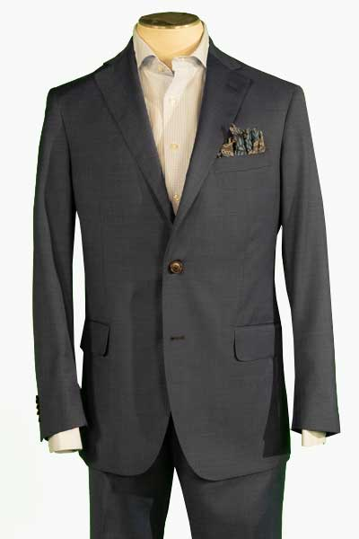 Men's Flat Front Pant Nested Suit Modern Cut - CHARCOAL - 97/3 WOOL/LYCRA SUPER120