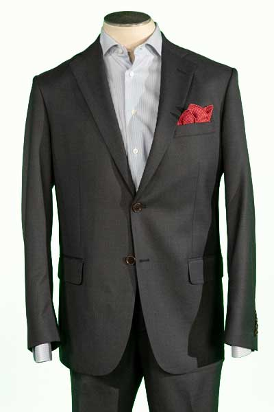 Men's Classic Cut Charcoal Suit, 100% Wool Super 150's, Flat Front Pant Nested