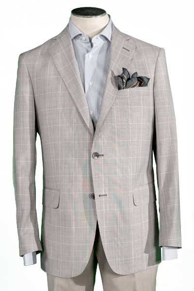 Men's Brown Glen Plaid Sport Coat, Modern Cut, 100% Wool Super 100's