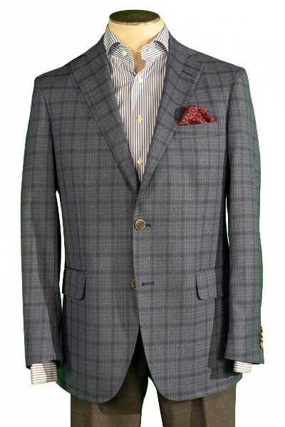 Men's Sport Coat Modern Cut, Color BLUE PLAID, 100% WOOL