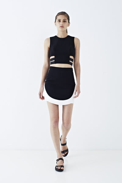 CONTRAST HEM MINI SKIRT