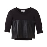 PERFORATED LEATHER CROP KNIT
