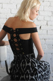 OFF SHOULDER LACE UP TOP