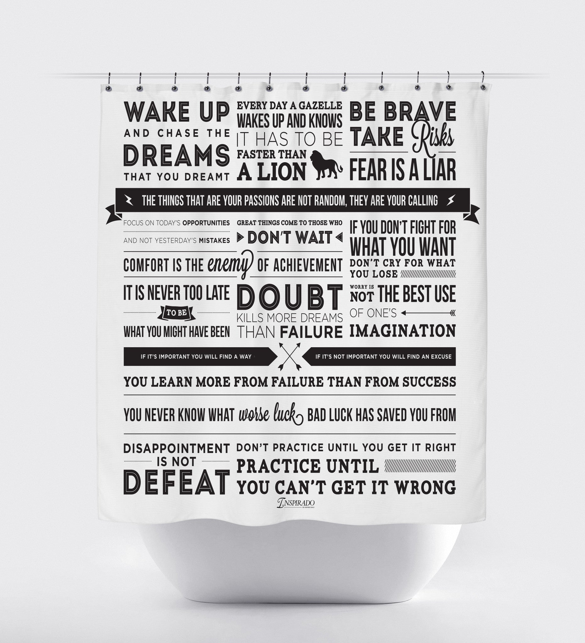 Inspirational Quotes And Phrases Fabric Shower Curtain Using