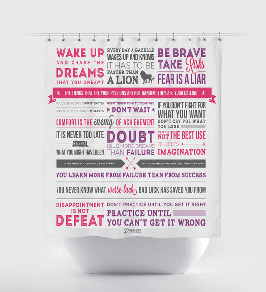 Inspirational Quotes And Phrases Fabric Shower Curtain Using Typography Inspirado Co