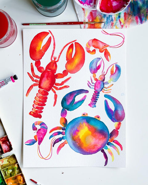 colorful watercolor lobsters and crabs painting by jordan mcdowell
