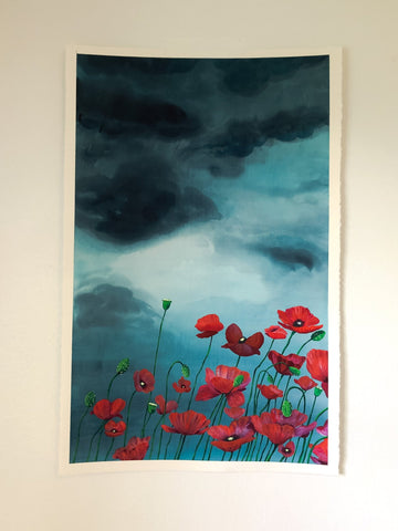 Poppy Fields Storm Original Large Watercolor Fine Art Painting Artist Jordan McDowell