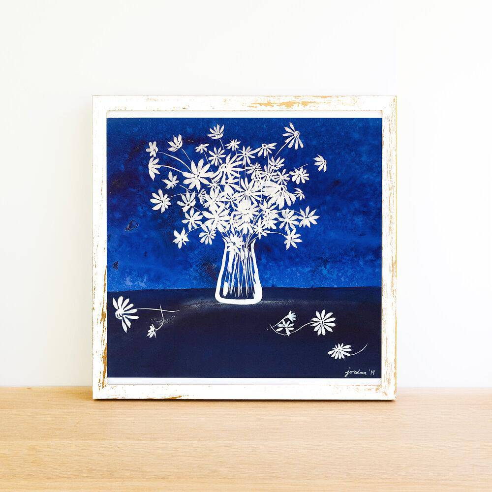 Daisy | Blue Floral Collection | SOLD - Jordan McDowell - art print - painting - home decor