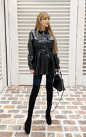 Fake leather  shirt tunic