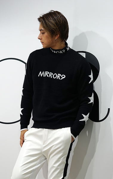 【MIRROR9GOLF】 Men's star logo knit/2color