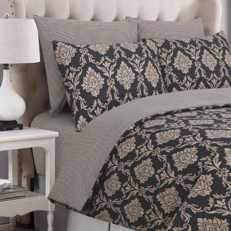 Egyptian Cotton 4 piece Black Floral Duvet Covers