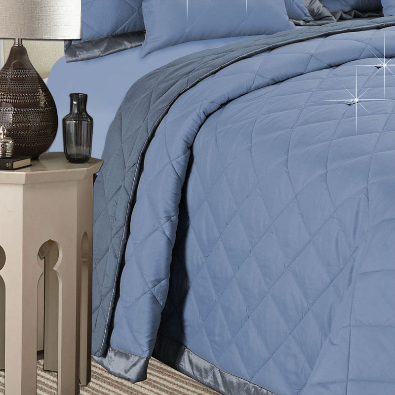 5 Piece Blue Diamond Quilted Comforter Set