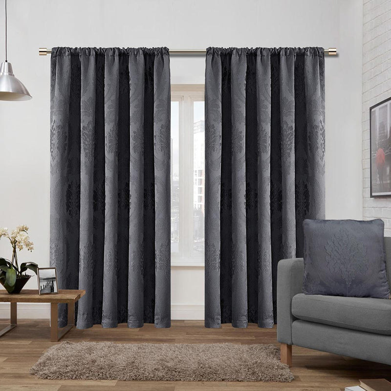 Ready Made Jacquard Pencil Pleat Grey Curtains