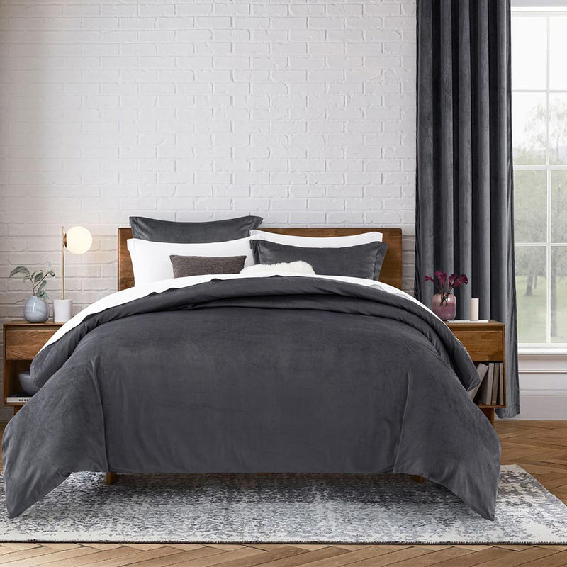 Crushed Velvet 3 Piece Charcoal Duvet Set