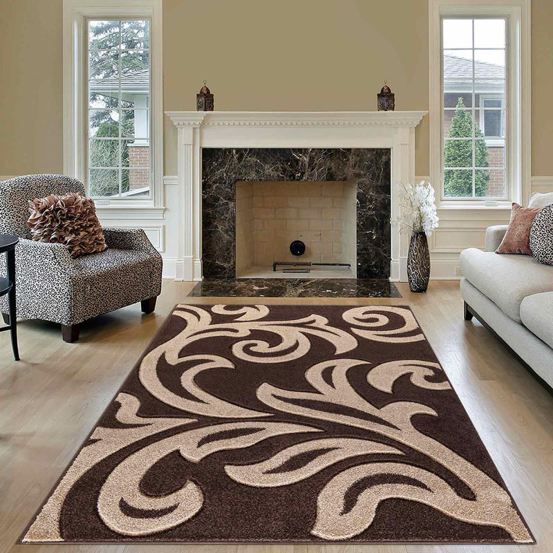 Modern Area Brown & Beige Rug For Living Room