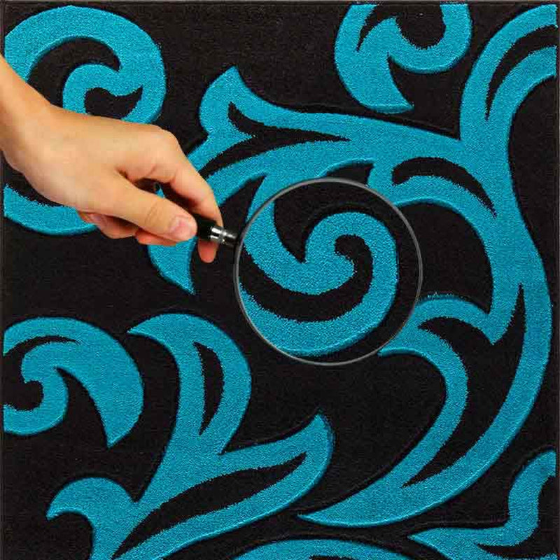 Florence-rugs-Black-&-Teal-2d
