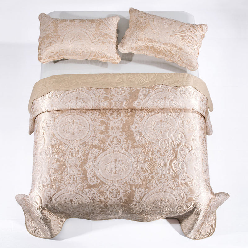 Quilted Bedspreads Double King Size Bedding Beige