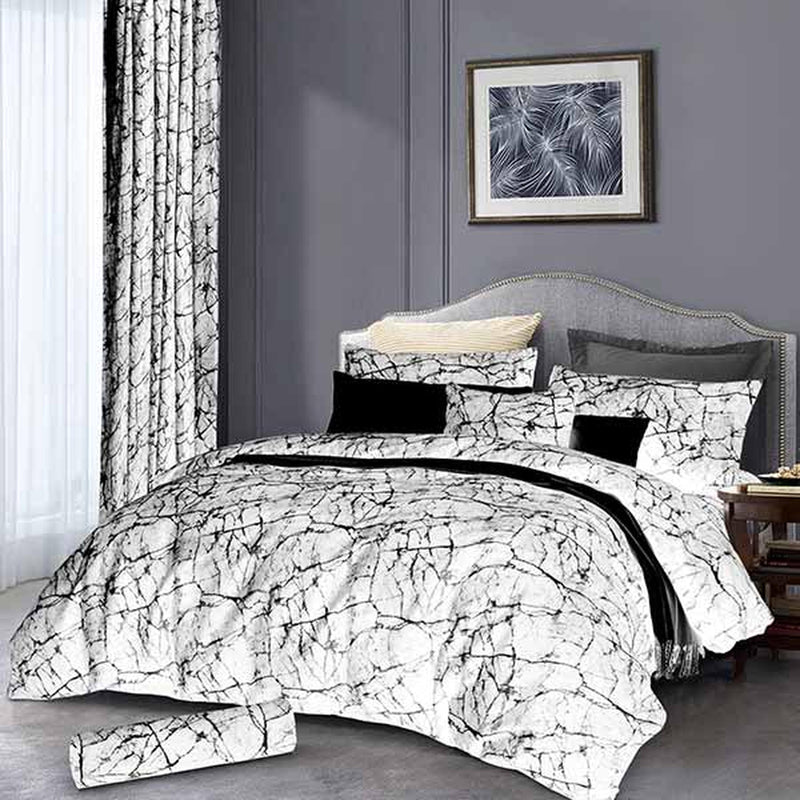 3 Piece Marble Grey Duvet Cover Set